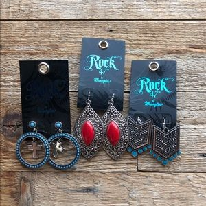 3 pairs, never worn, Rock 47 earrings